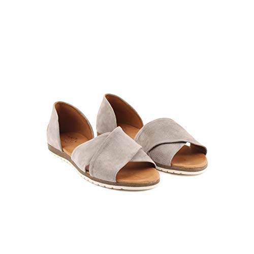 Apple of Eden CHIUSI 12 - Damen Schuhe Peeptoe-Ballarinas offene Schuhe - l-Grey, Größe:38 EU