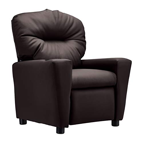 JC Home Contemporary Brown Leather Kids Recliner with Cup Holder