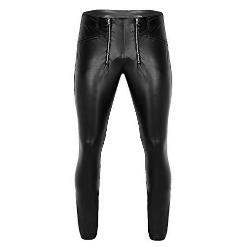 FEESHOW Herren Wetlook Leggings Lack Optik Hosen Ouvert Strumpfhose Pants Enge aus Kunstleder Sexy Nachtclub Outfits Schwarz Schwarz Medium