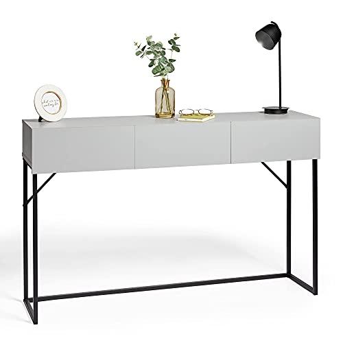 VonHaus Konsolentisch, graues Holzfurnier, Metallrahmen, Sideboard, 3 Schubladen, Flurtisch, Mehrzweck-Konsolentisch mit Schubladen, minimalistisches Design
