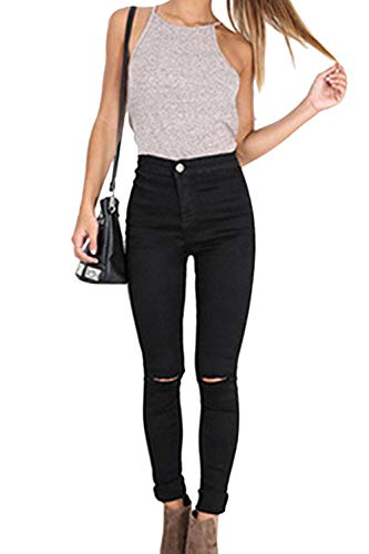 Damen Skinny Jeanshose High Taille Stretch Jeans Bleistift Hose Ripped Schwarz S
