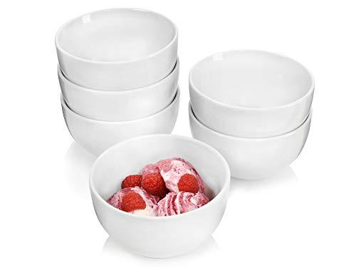 Sänger Porzellanschalen Sunfort – 6 teiliges Schalen-Set aus Porzellan zur Verwendung als Müslischalen, Salatschüsseln oder Dessertschalen, Füllmenge 400 ml, mikrowellengeeignet und spülmaschinenfest