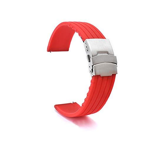 ZXF 18mm 20mm 22mm 24mm Silicone Strap 42 / 46mm Deporte Pulsera Impermeable Reloj de Reloj Correas Reloj Silicona Hombre y Mujer (Band Color : Red, Band Width : 20mm)