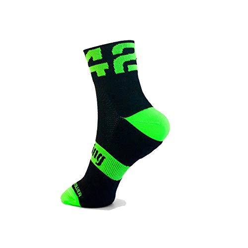 42K RUNNING - Calcetín técnico 42K MAKALU Negro-Verde Fluor L (43-46)