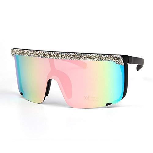 YANPAN Gafas De Sol De Diamantes De Moda para Mujer A Prueba De Viento Marco Grande Gafas De Diamante De Piedra Triturada Gafas De Sol De Tendencia Fresca Color Pastel Femenino