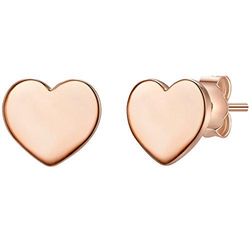 Glanzstücke München Damen-Silberohrstecker Herz Sterling Silber rosévergoldet - Silber-Ohrringe mit Herz-Symbol Ohrschmuck mit Herz-Motiv Herzohrstecker