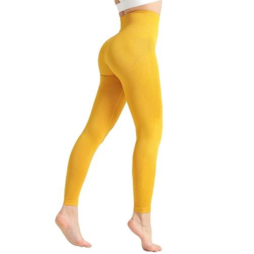 QTJY Flexiones para Mujer Ejercicio Fitness Correr Pantalones de Yoga Cintura Alta Cadera Leggings Pantalones de Entrenamiento elásticos para Celulitis D M