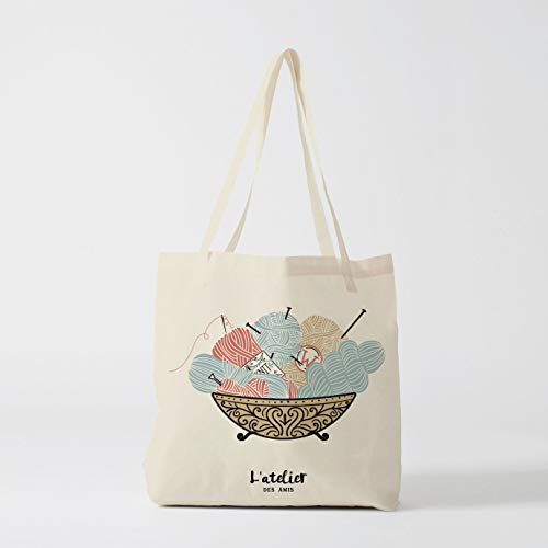 Borsa Knit Gift for Friend Tote Woolf Tote French shopping bag regalo per collega in cotone borsa
