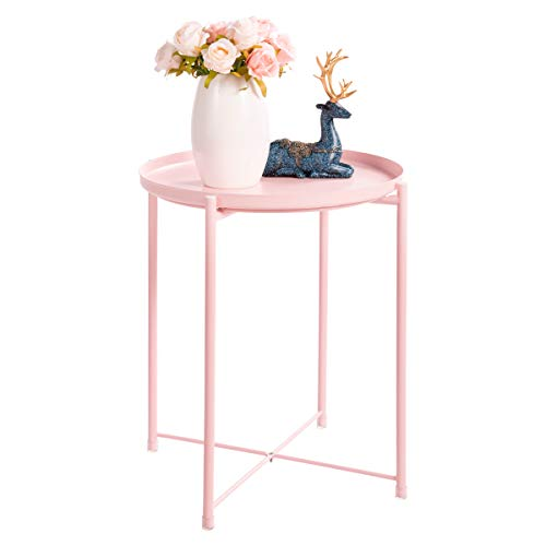 "HollyHOME Tray Metal End Table, Sofa Table Small Round Side Tables, Anti-Rust and Waterproof Outdoor & Indoor Snack Table, Accent Coffee Table,(H) 20.28"" x(D) 16.38"", Pink"
