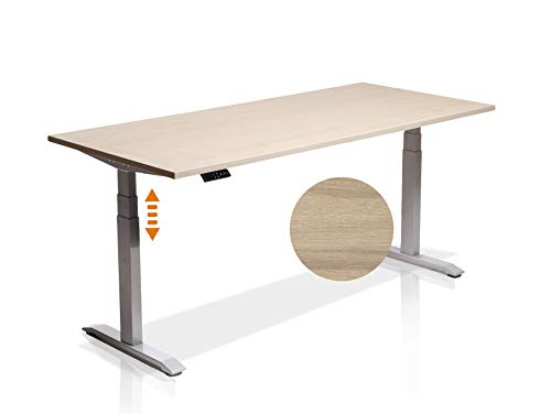 moebel-eins Elektrisch höhenverstellbarer Schreibtisch Office One mit Memory-Steuerung und Softstart/-Stop, Material Tischplatte Dekorspanplatte, 200x80 cm, Eiche sonomafarbig, grau