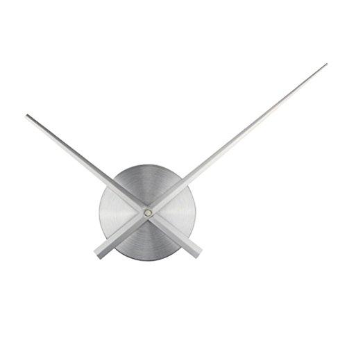 VORCOOL 3D Reloj de Las Manos Bricolaje Reloj Grande Relojes de Pared decoración de Arte en casa Accesorios del Mecanismo del Reloj de Cuarzo (Plata)