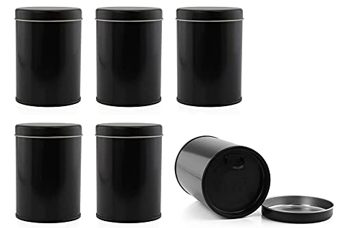 Double Seal Tea Canisters (6-Pack); Black Metal Round Tea Tins w/ Interior Molded Plastic Seal