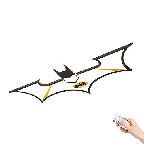 Lámpara de techo habitación niños dibujos animados Luces de techo LED creativa estilo Batman Focos Techo dormitorio negro 34W Regulable mediante mando a distancia Pantalla de acrílico