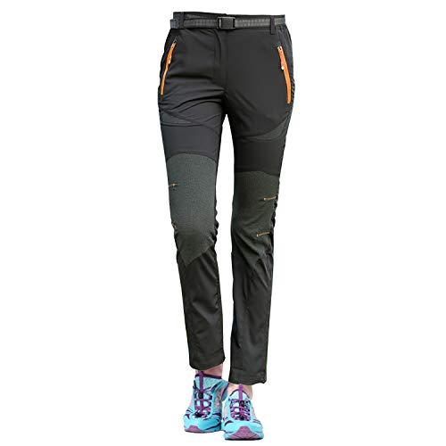 LHHMZ Frauen Wanderhose Wasserdicht Winddicht Atmungsaktiv Draussen Sports Klettern Laufen Joggen Reiten Hosen,EU M (= Asia Tag XL), Dünn-Schwarz