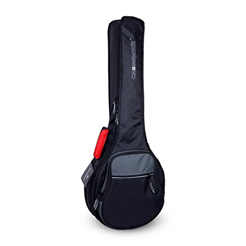 Crossrock CRSG106BJBG Padded Gig Bag for Open Back & Resonator Banjos, Backpack Straps, Black/Grey