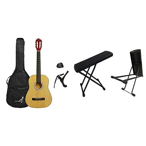 Rocket XF201CN XF Serie - Guitarra española clásica (tamaño 3/4), color natural + 3rd Avenue Rocket GFS01 Taburete de pie de guitarra