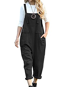YESNO Women Long Casual Loose Bib Pants Overalls Baggy Rompers Jumpsuits with Pockets PV9  M PV9 Black