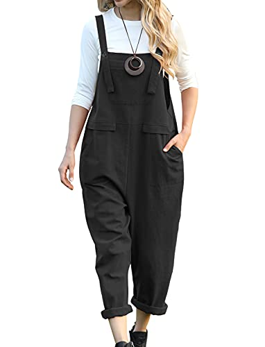 YESNO Women Long Casual Loose Bib Pants Overalls Baggy Rompers Jumpsuits with Pockets PV9 (L PV9 Black)
