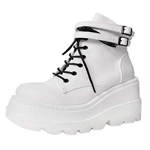 JXILY Señoras de La Plataforma de Alta Botas de Moda Los Tacones Altos Cargadores del Tobillo de Las Mujeres del Partido Acuña Los Zapatos de Tacón Mujer Mujeres Sexy Chunky Heel Boots,Blanco,42