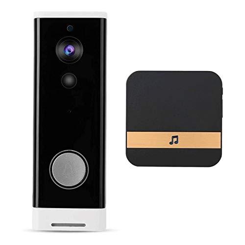Timbre con Video Inteligente de Seguridad con WiFi Inalámbrico 720P HD, 6 Lámparas LED Infrarrojas con Intercomunicador IR-Cut, para Seguridad en El Hogar (Color : Black)