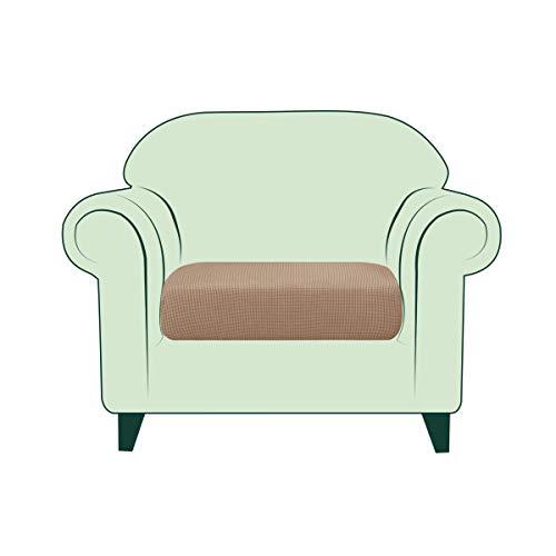 CHUN YI Copricuscino Divano Elasticizzato Copriseduta Protezione Cuscino del Divano per 1 Posto Sedia, Tessuto Jacquard Spandex Fodera per Cuscino (Sedia, Taupe)