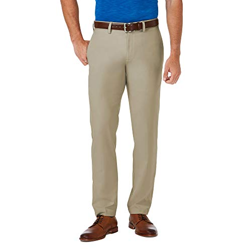 Haggar Men's Cool 18 Pro Slim Fit Flat Front Superflex Waistband Pant, Khaki, 36Wx34L