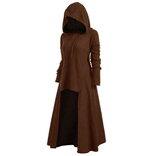 Womens Hoodies Plus Size Vintage Hooded Cloak High Low Sweater Coat Loose Knitted Ribbed Hem Blouse Tops S-5XL (Khaki,3X-Large)