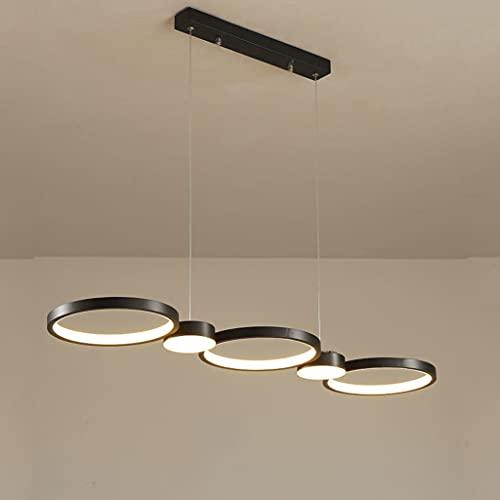 Lámpara colgante LED de techo regulable, lámpara colgante rectangular de mesa de comedor con mando a distancia de 40 W, moderna lámpara de techo para dormitorio, altura regulable,