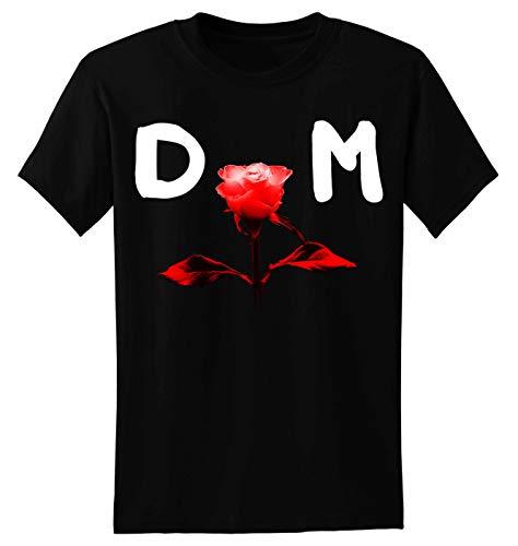 Depeche Mode Rose DM Herren T Shirt T-Shirt Prime Quality Kurzarm (Schwarz, 2XL)