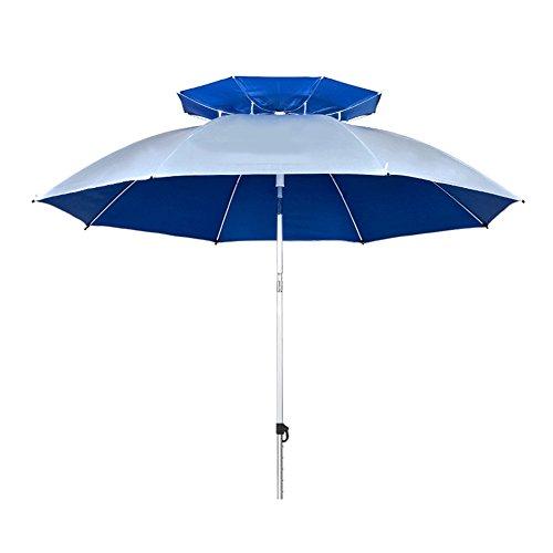 ZHUSAN Vissen Paraplu dubbellaags Oxford Spinning zonwering groot regendicht blauw en grijs zonnescherm voor mannen vrouwen voor strand buiten