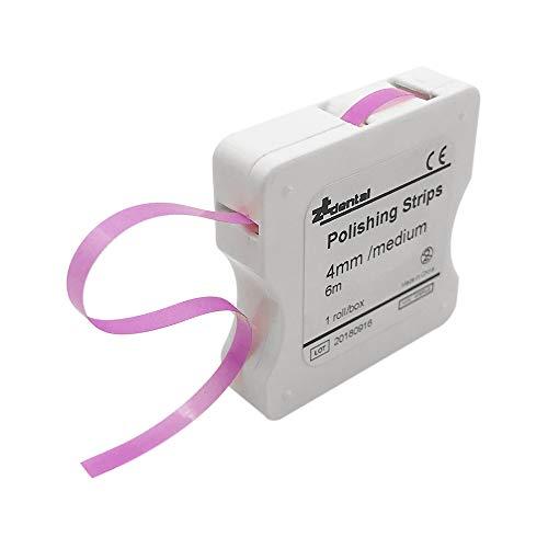 Anself 1 Rollo/Caja Blanqueadores de dientes Tira de Pulido Dental 4mm Blanqueamiento Dental Superficie y Diente Interdental (Rosa (medio), 1 pc)