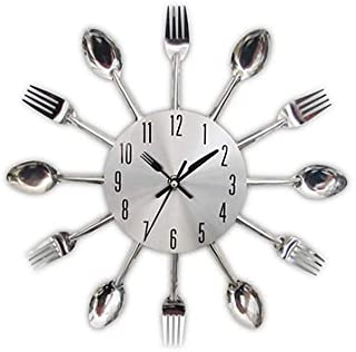 Wall Clocks Cutlery Metal Kitchen Wall Clock Spoon Fork Creative Quartz Wall Mounted Clocks Modern Design Decorative Hot Sale