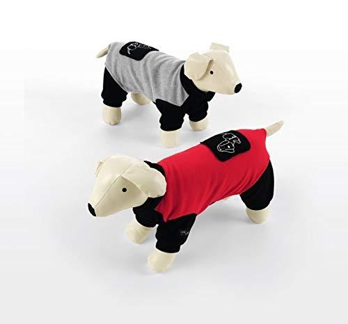 Dog Line Hundeoverall Campiglio aus Fleece Hundeanzug mit 4 Beinen Overall für Hunde (Rückenlänge 36cm, grau/schwarz)