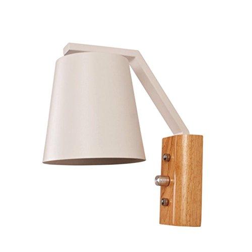 WOOE Wandleuchte Einfache moderne kreative Wandlampe Holzstämme LED Eisen Licht E27 Wohnzimmer Korridor Balkon Lampe Schlafzimmer Nachttisch Lampe Drehschalter ( Color : White )
