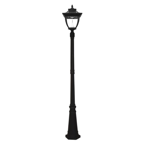 Gama Sonic GS-104S Pagoda Lamp Post Outdoor Solar Light Fixture and Pole, Black