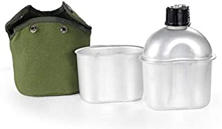 RAUVOLFIA Multi-Functional Lightweight Military Canteen 1.2QT Canteen Kit with Cup & Green Cover for Camping Hiking Outdoor Adventures