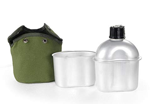 Multi-Functional Lightweight Military Canteen 1.2QT Canteen Kit with Cup & Green Cover for Camping Hiking Outdoor Adventures