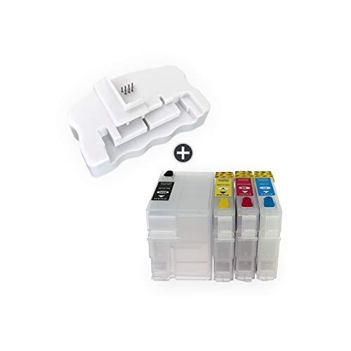 WSCHENG Cartucho de Tinta Recargable T34 34XL T3471 T3461 Cartuchos de Tinta T3471 T3461 con Chips Restter para EPSON 3725DWF 3720DWF Impresoras