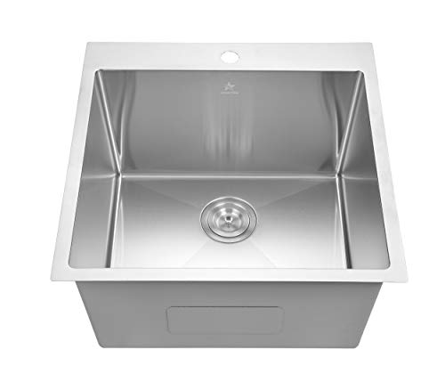 Starstar Drop-in Topmount 304 Stainless Steel Single Bowl Bar/Kitchen/Laundry/Yard/Office Sink (22 x 22 x 12-Without Grid)