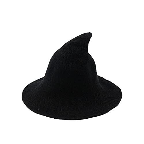Yang Xin.Style - Cappello da strega per Halloween, da donna, lavorato a maglia, in lana, accessorio per feste in maschera e per uso quotidiano, Nero , Small/Medium