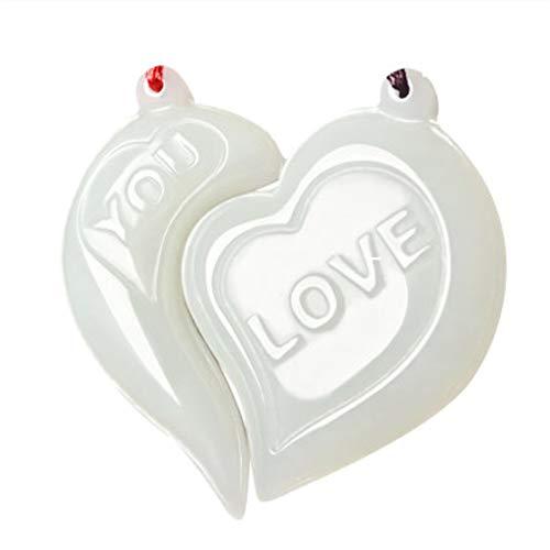 有钱花电子商务 Couple Pendant Pair Hetian Baiyu Pendant wear Men and Women 520 Courtship Confession Lover Gift Necklace Lettering Pendant