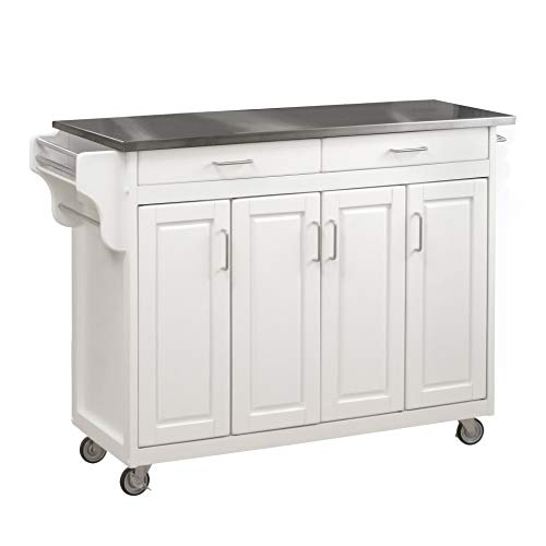 Create-a-Cart White 4 Door Cabinet Kitchen Cart with...