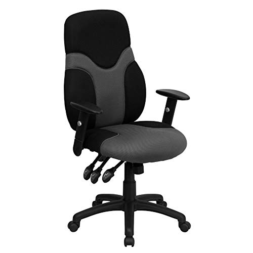 Flash Furniture High Back Ergonomic Black and Gray Mesh Swivel Task Office Chair with Adjustable Arms