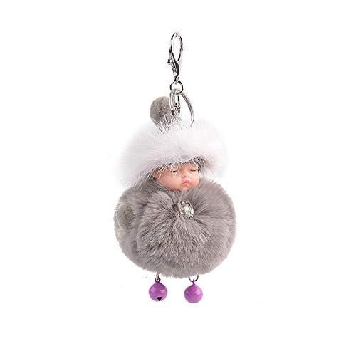 aolongwl Llavero pompón dormir bebé llavero lindo esponjoso muñeca llaveros mujeres chica bolsa llaveros coches llavero joyería regalo porte