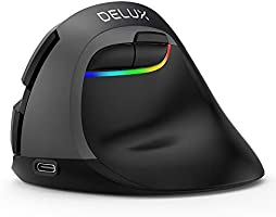 DELUX Vertical Mouse Wireless, Ergonomic Mouse with BT 4.0 and 2.4G Wireless Dual Mode, Built-in Rechargeable Battery,...