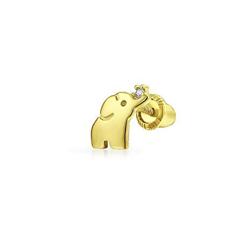 Pequeño minimalista real 14K oro hélice cartílago lóbulo de la oreja piercing CZ acento zoo animal suerte elefante 1 pieza pendiente para las mujeres adolescente Screwback