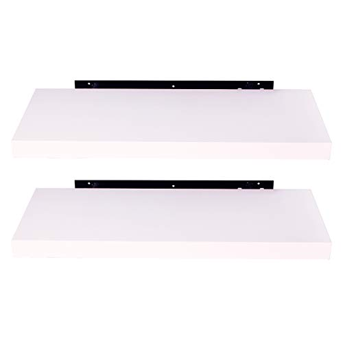 EUGAD Juego de 2 Estantería Pared Madera Blanco Estante Flotante para Colgar Libro CD en Cocina Salon Dormitorio 25cm 0078QJ 0078QJ