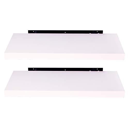 EUGAD 0082QJ-2 Wandregal Wandboard 2er Set Hängeregal Holz Board Modern Weiß 40x23x3,8cm