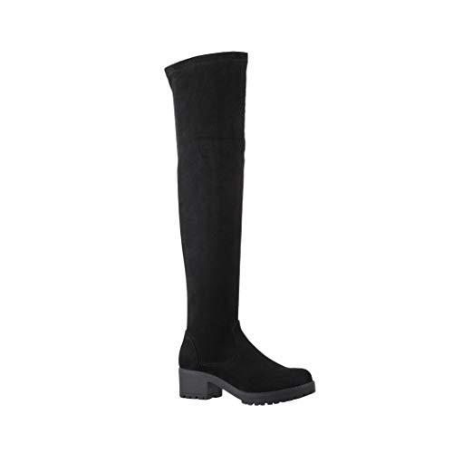 Elara Damen Stiefel Overknees Wildlederoptik Chunkyrayan ZY5003 Black-38
