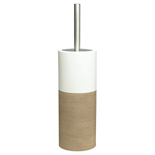 Sealskin Toilettenbürste Doppio, WC-Bürstengarnitur aus natürlichem Porzellan, Farbe: Sand, handbemalt